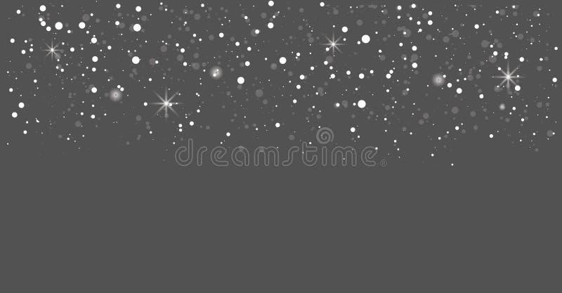 Nahtlos realistischer fallender Schnee oder Schneeflocken Isoliert auf transparentem Hintergrundvektor Blizzard lizenzfreie abbildung