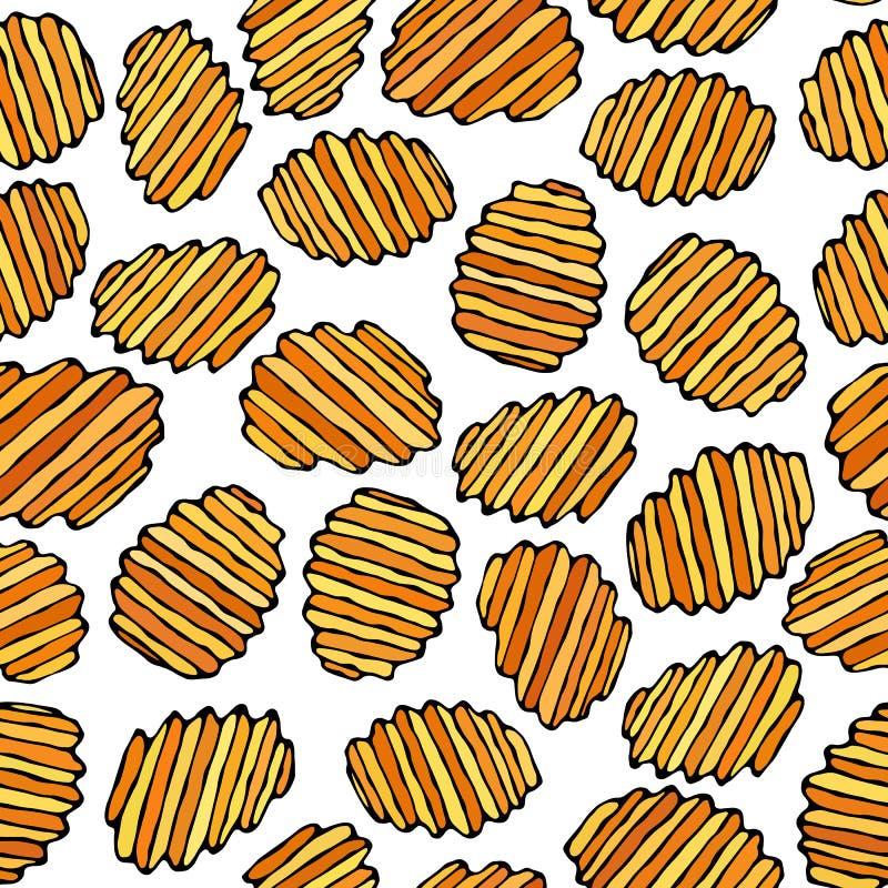 Nahtlos von gewölbten Kartoffelchips Wellen-Chip Snack-Muster Gebratene Kartoffeln Gewölbte goldenen Chips Schnellimbissdesign re lizenzfreie abbildung