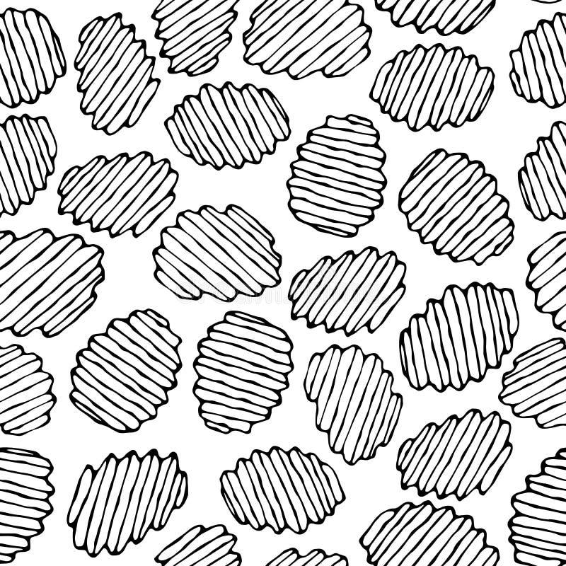Nahtlos von gewölbten Kartoffelchips Wellen-Chip Snack-Muster Gebratene Kartoffeln Gewölbte goldenen Chips Schnellimbissdesign re stock abbildung