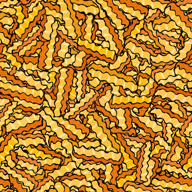 Nahtlos von Pommes-Fritesgewölbten Kartoffelchips Wellen-Chip Snack-Muster Gebratene Kartoffeln Gewölbte goldenen Chips schnell stock abbildung