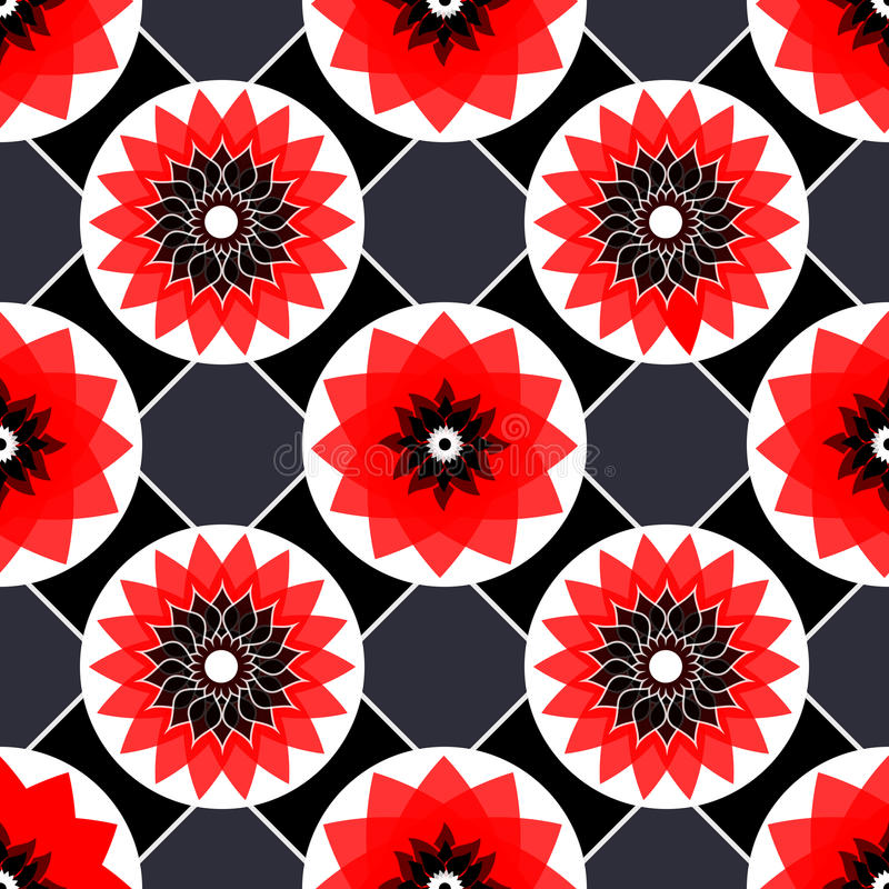 Nahtlose abstrakte Blumenweinlesebeschaffenheit des roten, Schwarzweiss-Vektors lizenzfreie abbildung