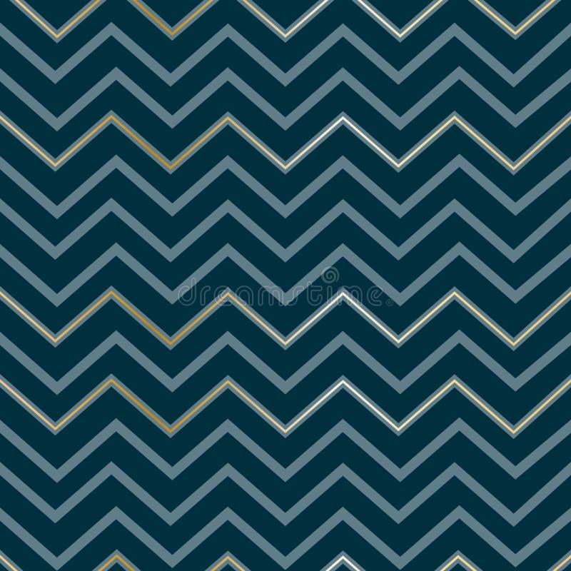 Nahtlose abstrakte geometrische elegante goldene Luxuslinien des Zickzackmusters auf einem Muster-Zickzackdruck dunkelblauer Hint stock abbildung
