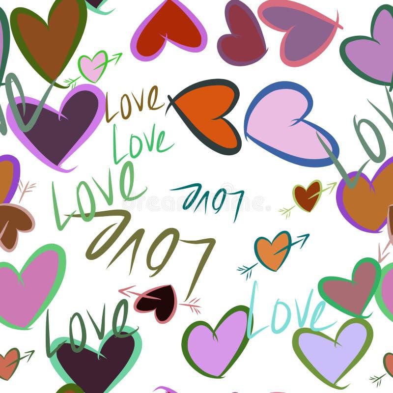 Nahtlose abstrakte Handgezogene Liebe für Valentinstag, Feiern oder Jahrestag Beschaffenheit, Hintergrund, Glückwunsch u. Effekt vektor abbildung