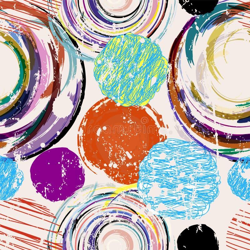 Nahtlose abstrakte Kreise und Punkthintergrund stock abbildung