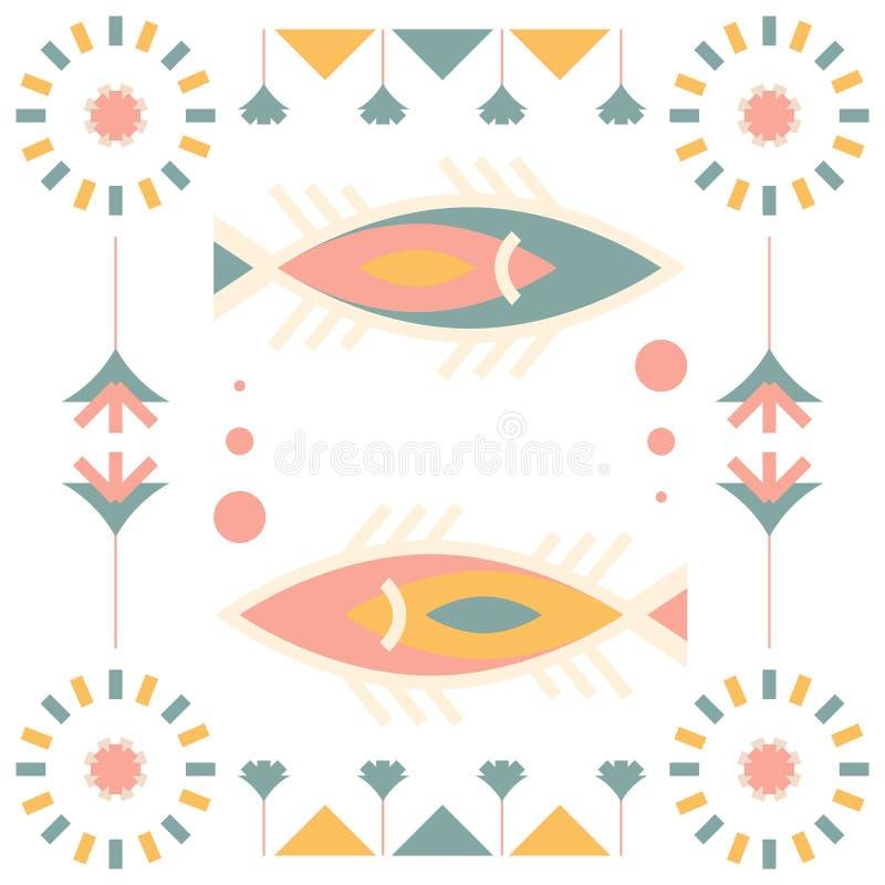Nahtlose Araberfilz-Musterfische lizenzfreie abbildung