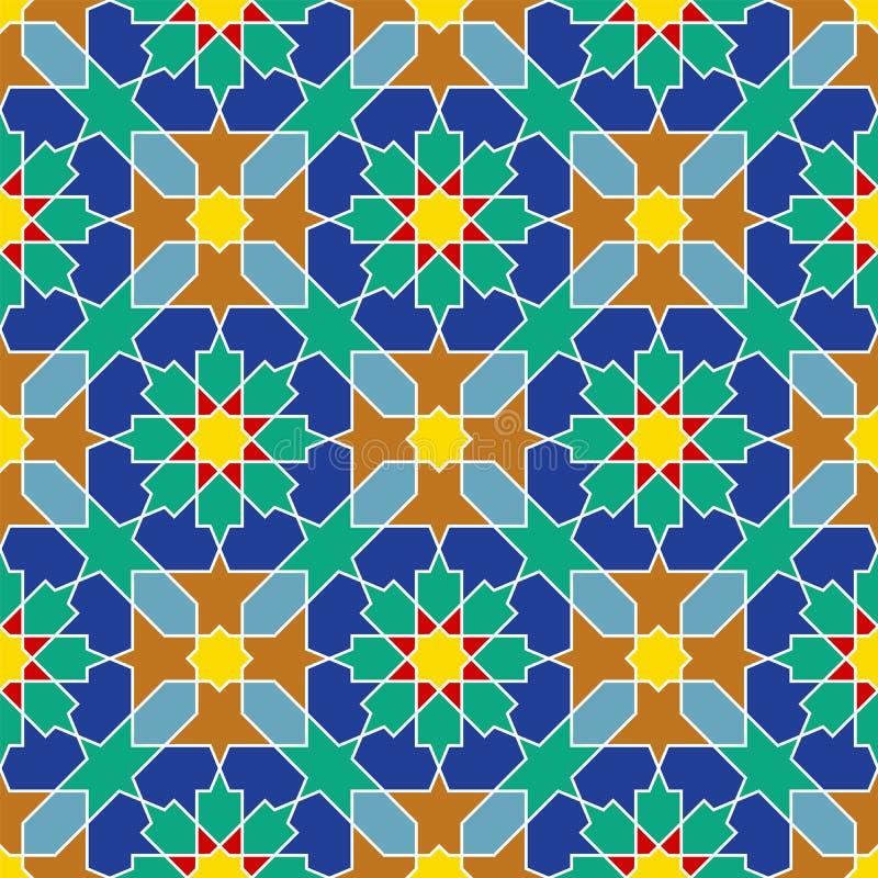 Nahtlose arabische geometrische farbige Verzierung in Art girih lizenzfreie abbildung