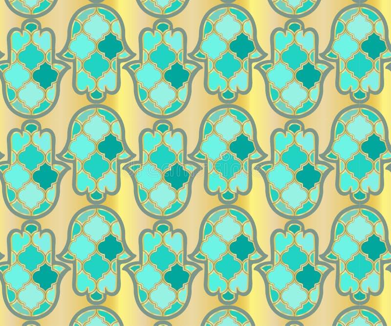 nahtlose arabische khamsa hand von fatima-illustration auf