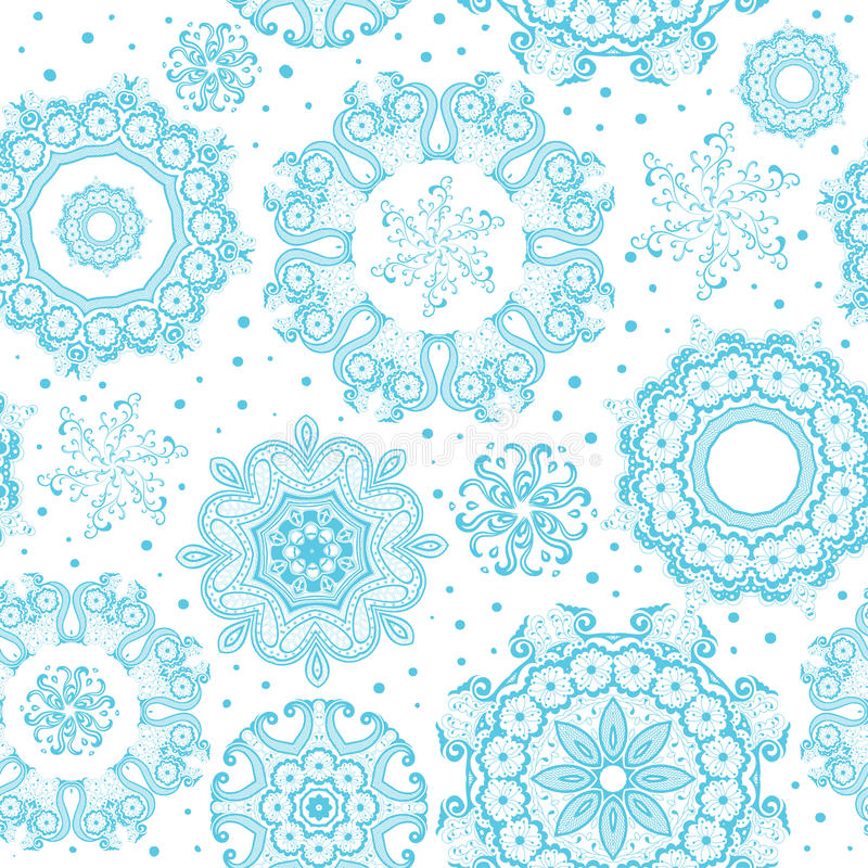 Nahtlose aufwändige blaue Schneeflocken auf weißem Muster lizenzfreie abbildung
