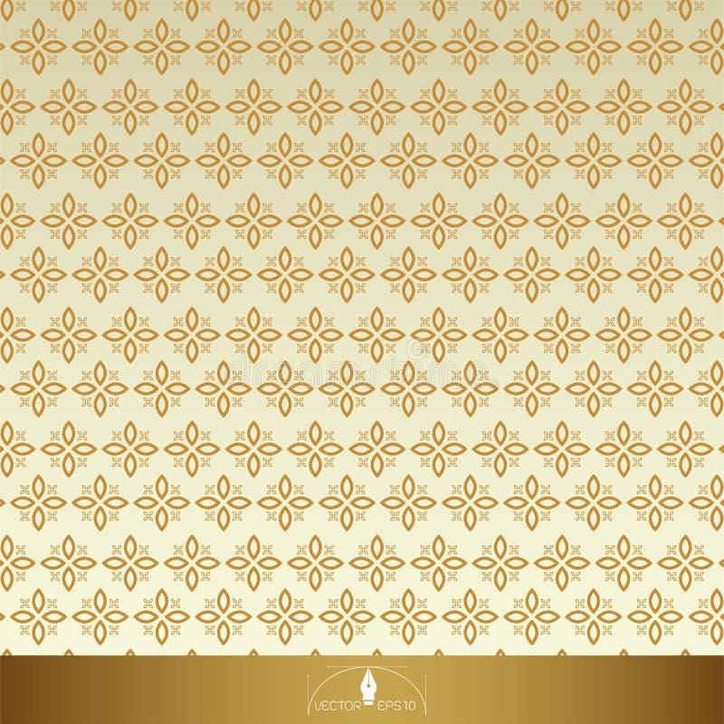 Nahtlose aufwändige mit Blumenmuster der Weinlese Gold mit Beige stock abbildung