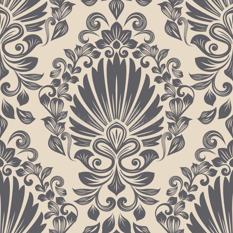 Nahtlose beige und graue Blumentapete stock abbildung