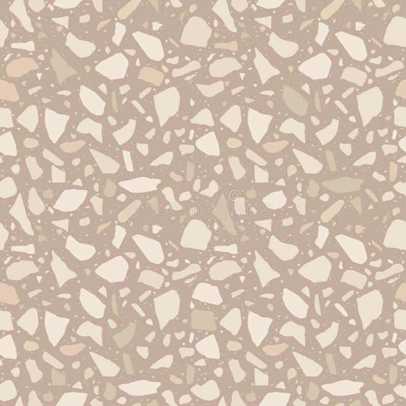 Nahtlose Beschaffenheit Brown-Terrazzo Bodenfliese, Poliersteinmuster Marmoroberfläche vektor abbildung