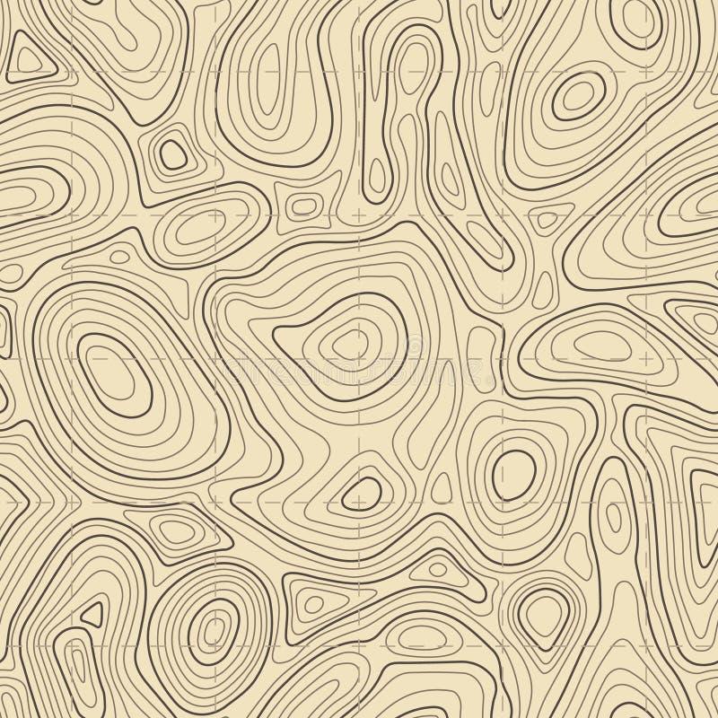Nahtlose Beschaffenheit der topographischen Karte Kartographieaufzug zeichnet Kontur, umrissene Geländelinien Vektorhintergrund a stock abbildung