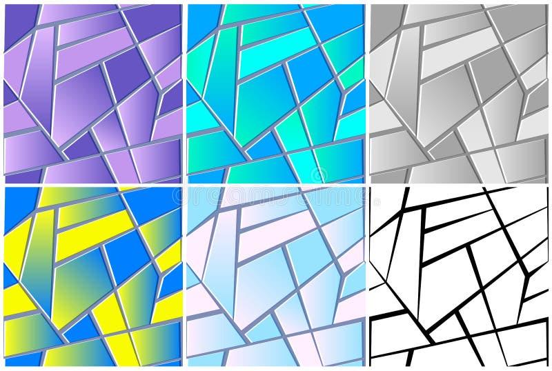 Nahtlose Beschaffenheit des Buntglases Wiederholen Sie abstrakten Hintergrund mit geometrischen Polygonen stock abbildung