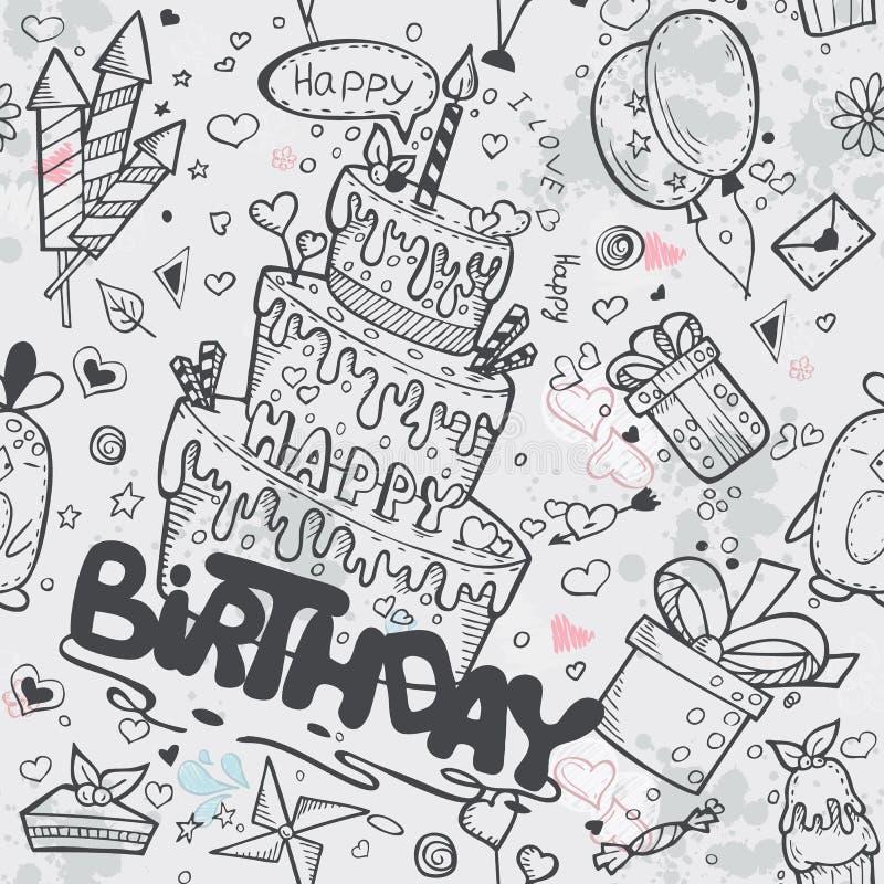 Nahtlose Beschaffenheit des Geburtstages mit einem Geburtstagskuchen, Ballone, Raketen, Zeichentrickfilm-Figuren lizenzfreie abbildung