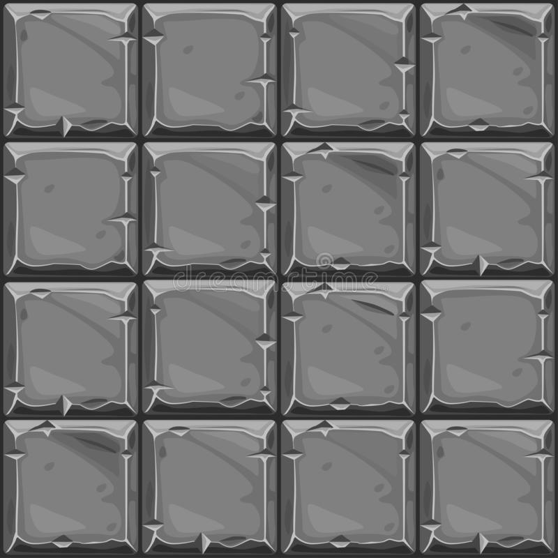 Nahtlose Beschaffenheit des grauen quadratischen Steins, Hintergrundsteinwandfliesen Vektorillustration für Benutzerschnittstelle stock abbildung