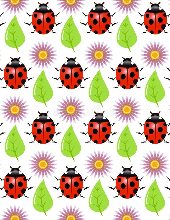 Nahtlose Beschaffenheit - ein Marienkäfer, Blatt, Blume lizenzfreie abbildung