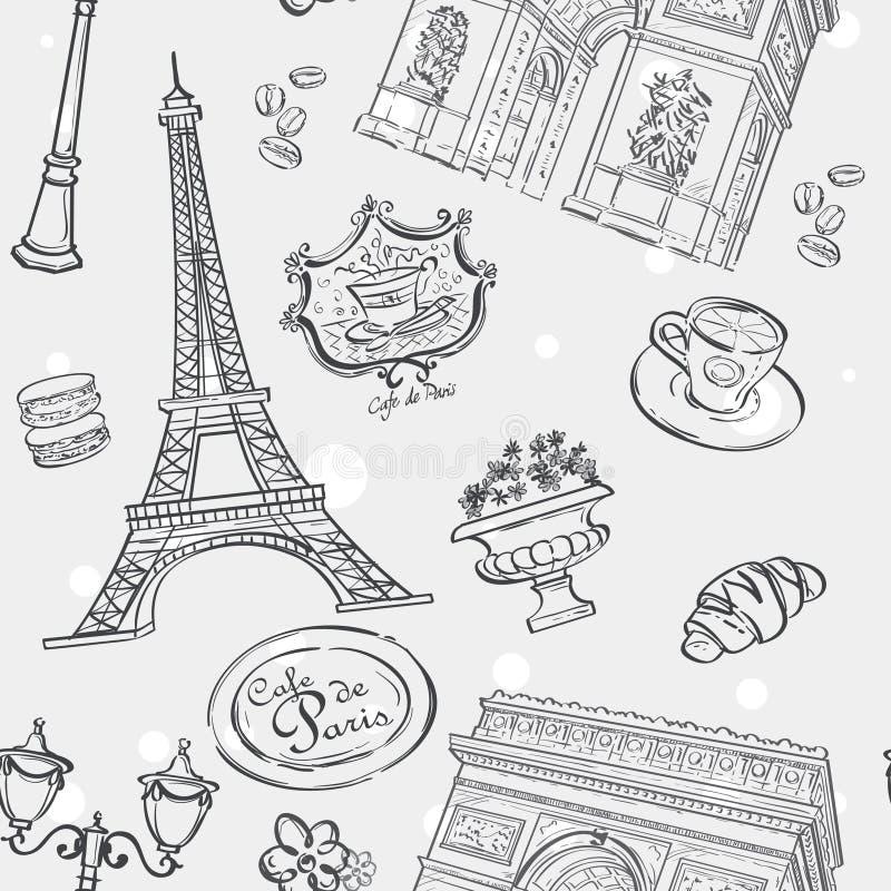 Nahtlose Beschaffenheit im schwarzen Entwurf mit dem Bild des Eiffelturms, des Frankreichs und anderer Einzelteile vektor abbildung