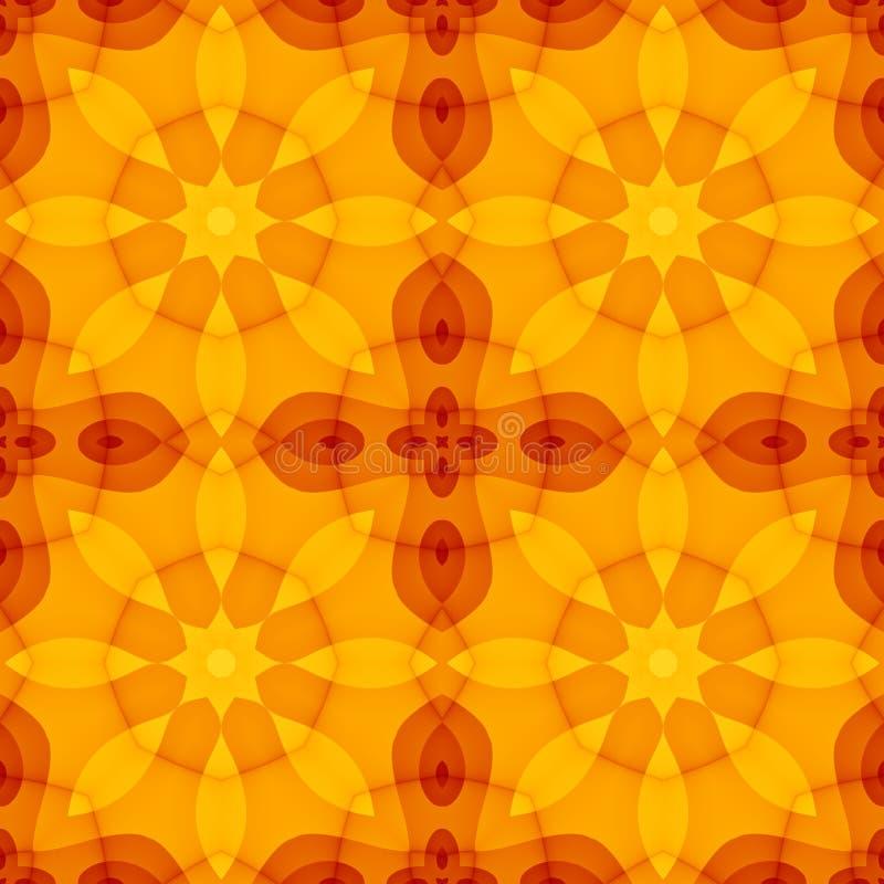 Nahtlose Beschaffenheit mit Blumenmuster des warmen Gelbkaleidoskops des orange Rotes lizenzfreie abbildung