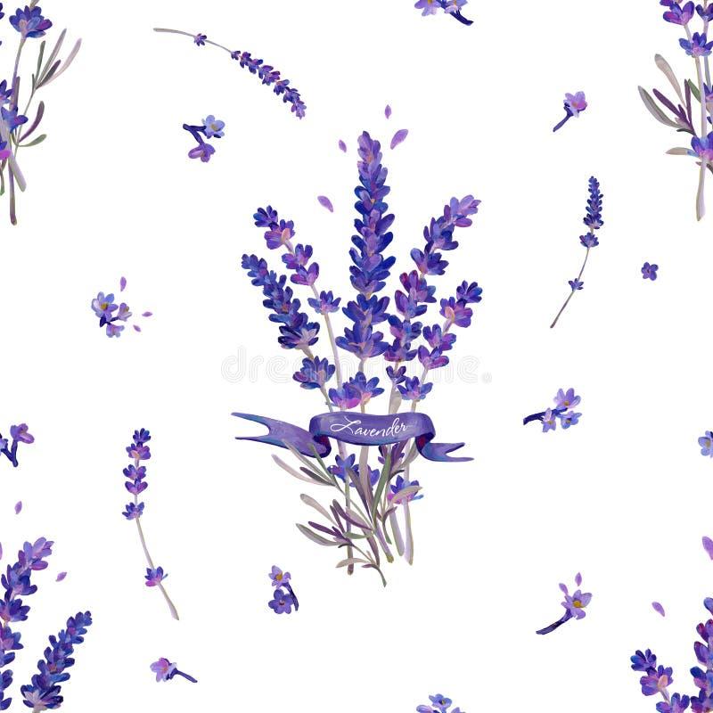 Nahtlose Beschaffenheit mit Blumensträußen des Lavendels In den lila Farben lizenzfreie abbildung