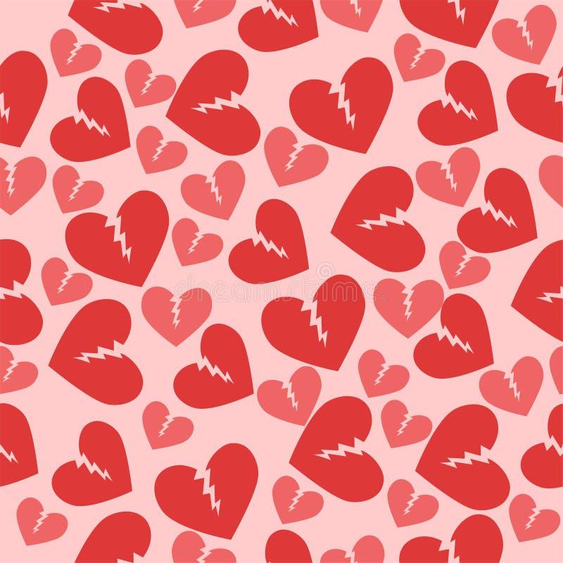 Nahtlose Beschaffenheit mit defekten Herzen Rote rosa Farbe Verschiedene Varianten der Farbe sind m?glich vektor abbildung