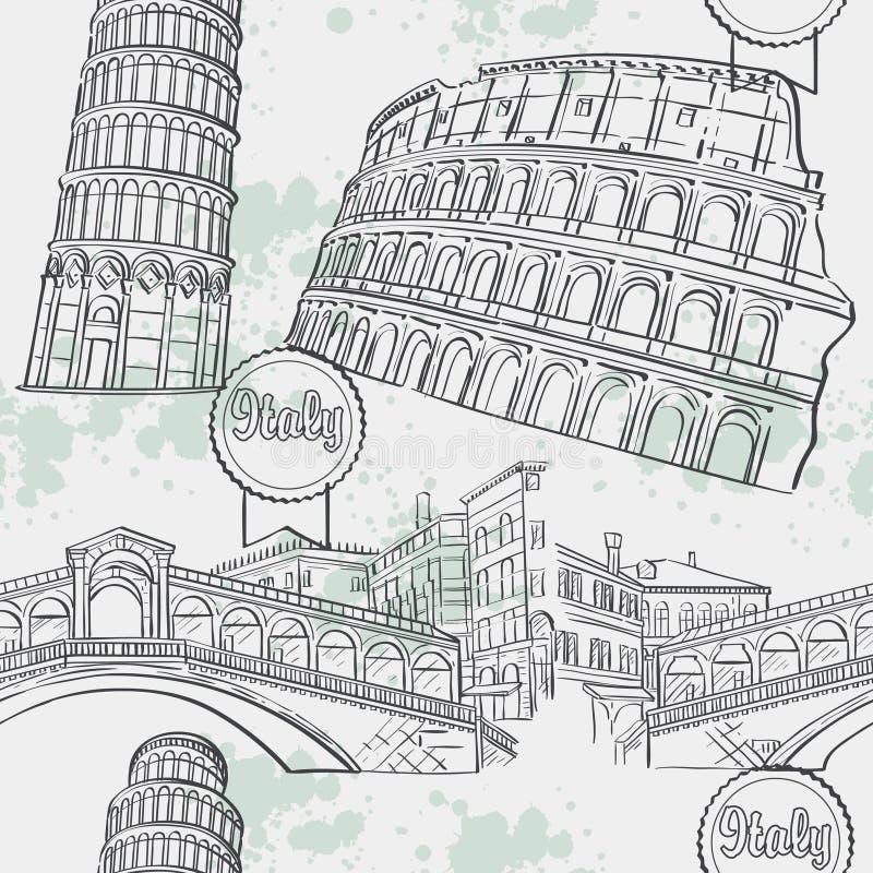Nahtlose Beschaffenheit mit dem Bild arhitekturi Italien Das Kolosseum, die Ri-Alt Brücke, der Turm von Pisa stock abbildung