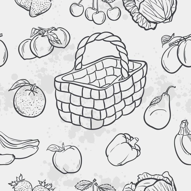 Nahtlose Beschaffenheit und Gemüse, Frucht und Körbe stock abbildung
