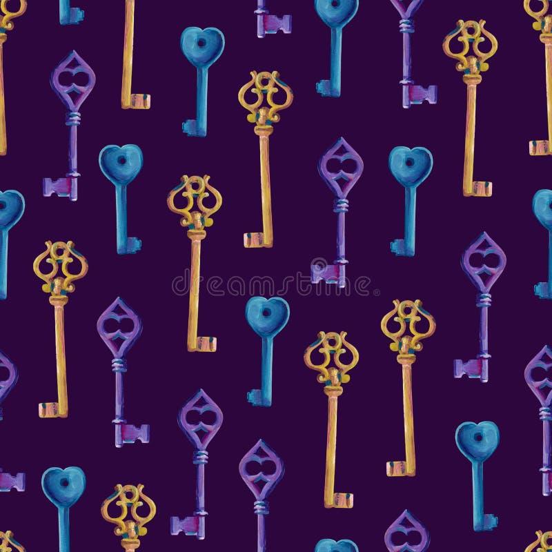 Nahtlose Beschaffenheit von Gouacheschlüsseln auf einem violetten Hintergrund Beschaffenheit 3 vektor abbildung