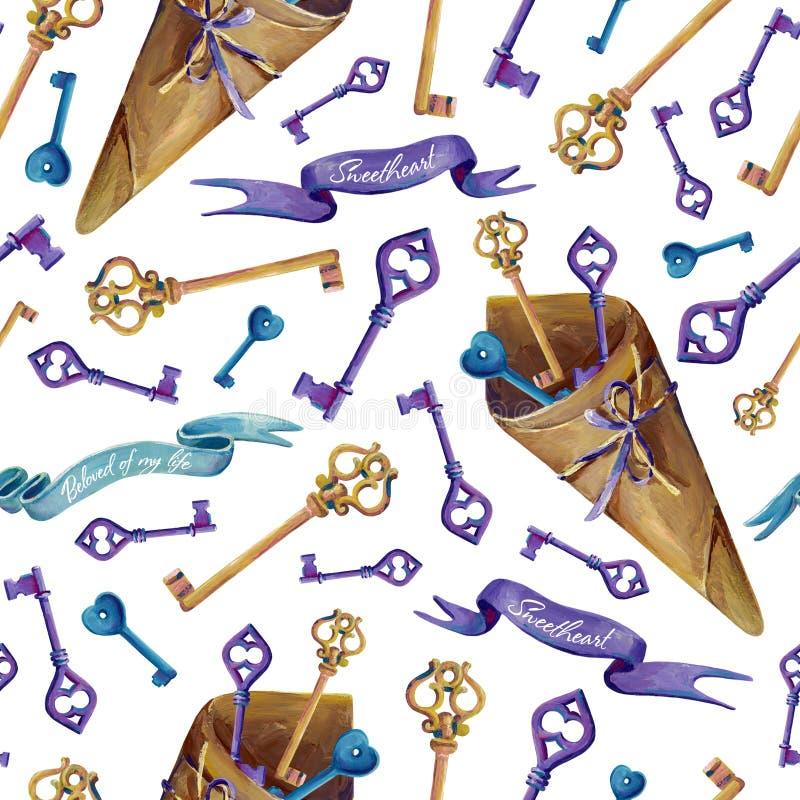 Nahtlose Beschaffenheit von Gouacheschlüsseln, von Papierverpackungen und von Fahnen vektor abbildung