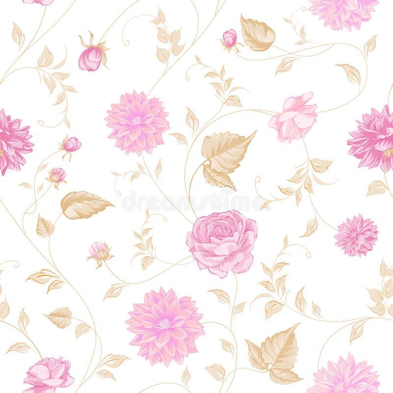Nahtlose Beschaffenheit von rosa Rosen für Gewebe stock abbildung
