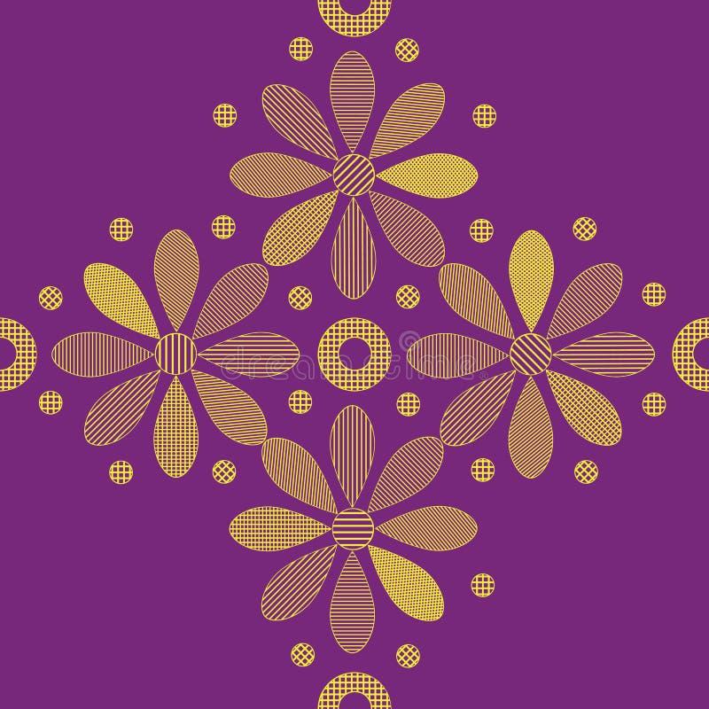 Nahtlose Beschaffenheiten mit dekorativen gelben Blumen auf dem violetten Hintergrund stockfotos