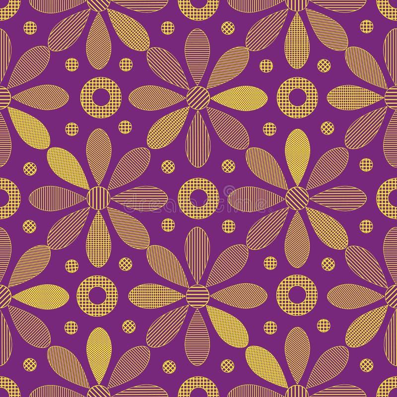 Nahtlose Beschaffenheiten mit vielen dekorativen gelben Blumen auf dem violetten Hintergrund stockfotografie
