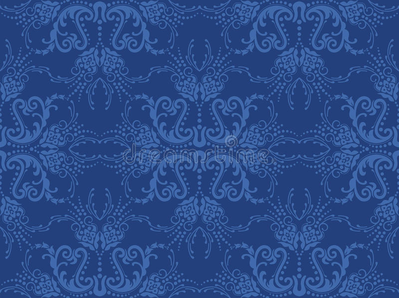 Nahtlose blaue Blumentapete lizenzfreie abbildung