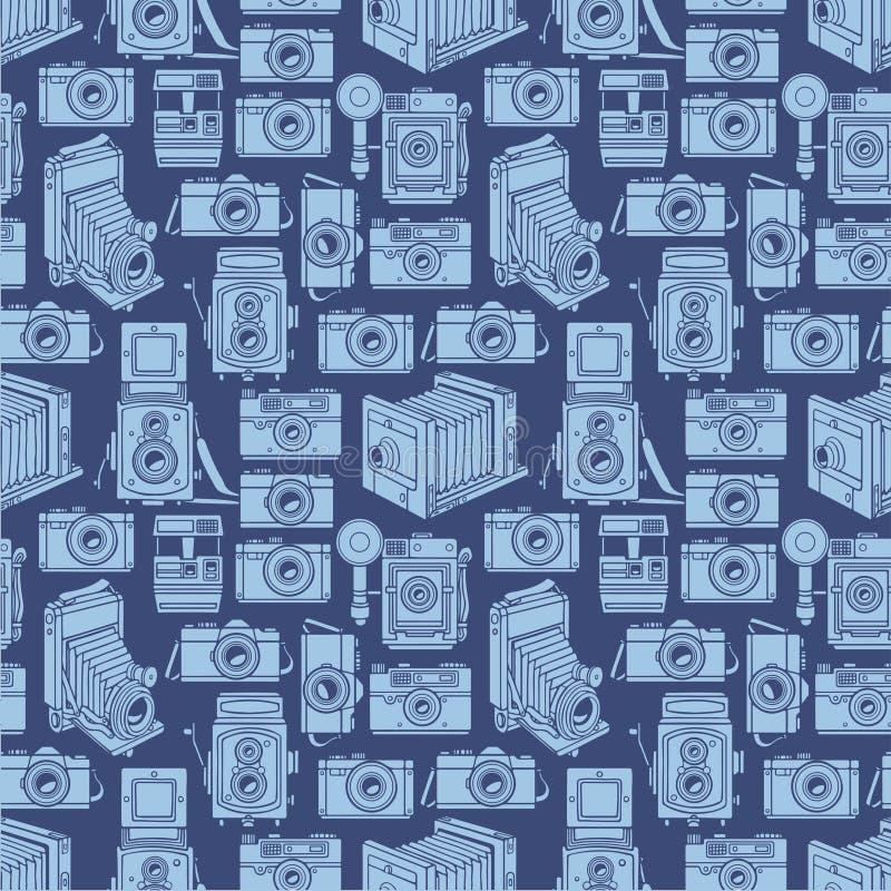 Nahtlose blaue Kameras vektor abbildung