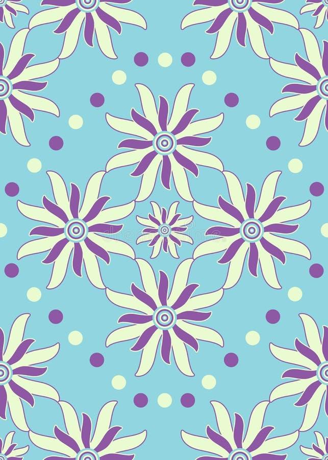 Nahtlose blaue purpurrote abstrakte Blumen vektor abbildung