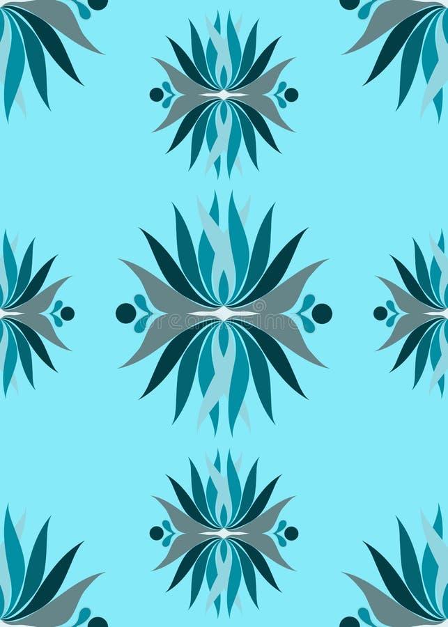 Nahtlose blaue purpurrote abstrakte Blumen stock abbildung