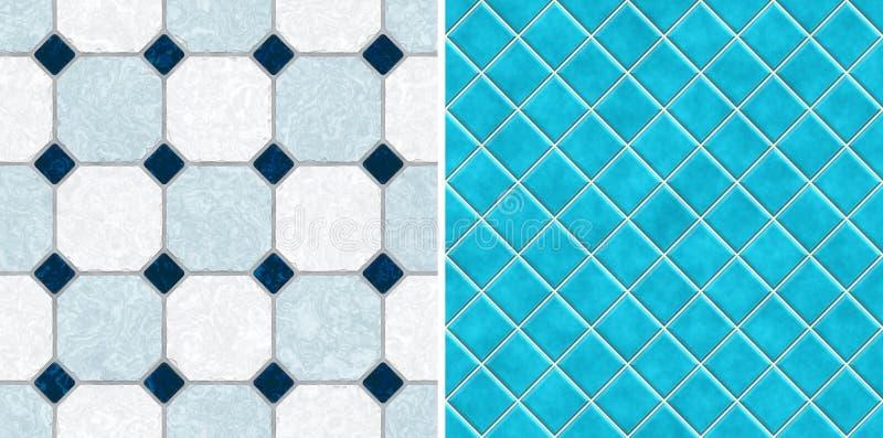 Nahtlose blaue Tonmosaikfliesen lizenzfreie abbildung