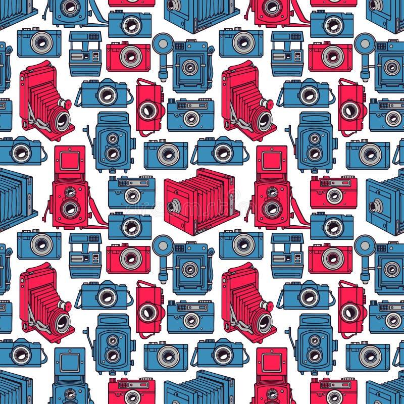 Nahtlose blaue und rosa Kameras stock abbildung
