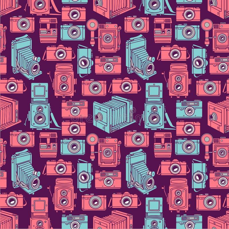 Nahtlose blaue und rosa Kameras vektor abbildung