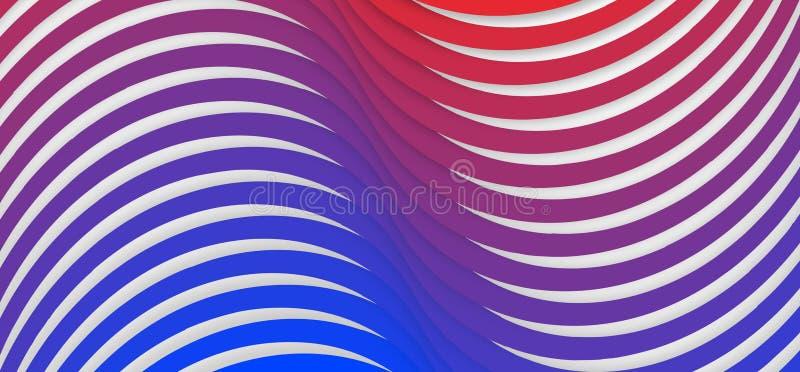 Nahtlose blaue und rote Steigung verdrehte Streifen masern im weißen Hintergrund vektor abbildung
