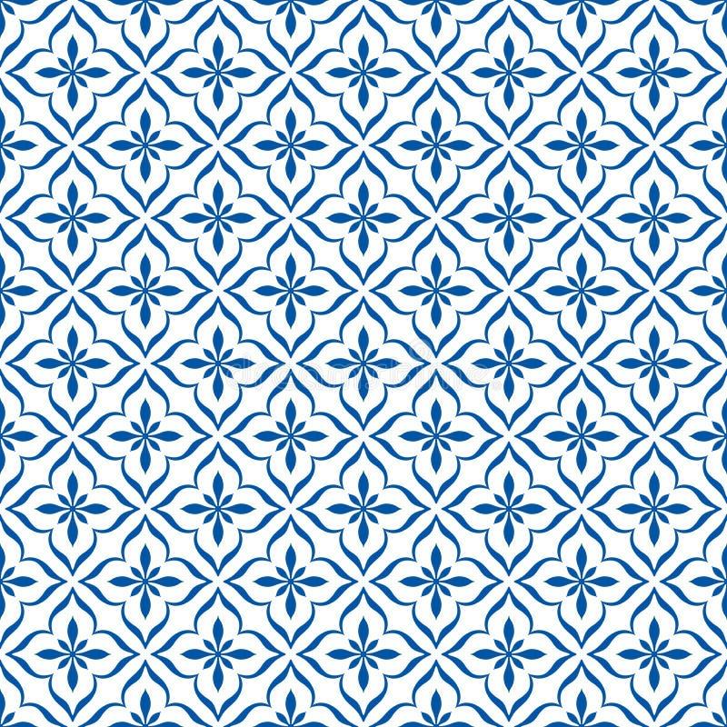 Nahtlose Blaue Vintage-Ornament-Muster in weißem Hintergrund vektor abbildung