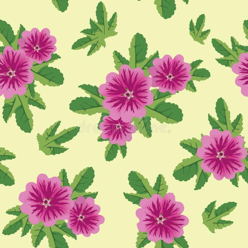 Nahtlose Blumenbeschaffenheit mit Malvablumen lizenzfreie abbildung