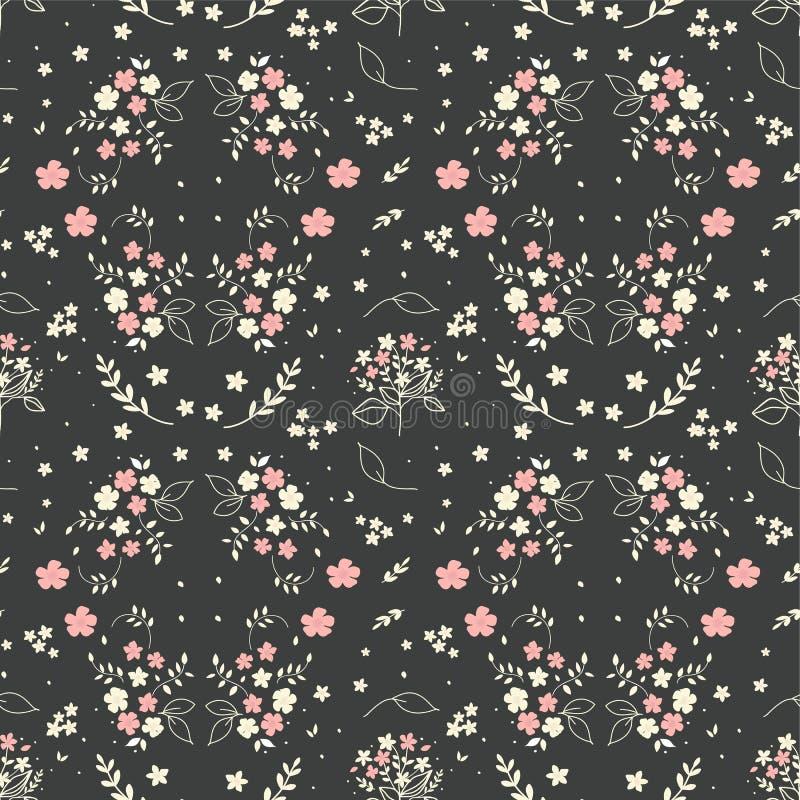 Nahtlose Blumenblüht gezeichnetes kleines weißes Schattenbild des musters Hand in den Blumenstraußzweigbeeren auf dunkelgrauem Hi stock abbildung