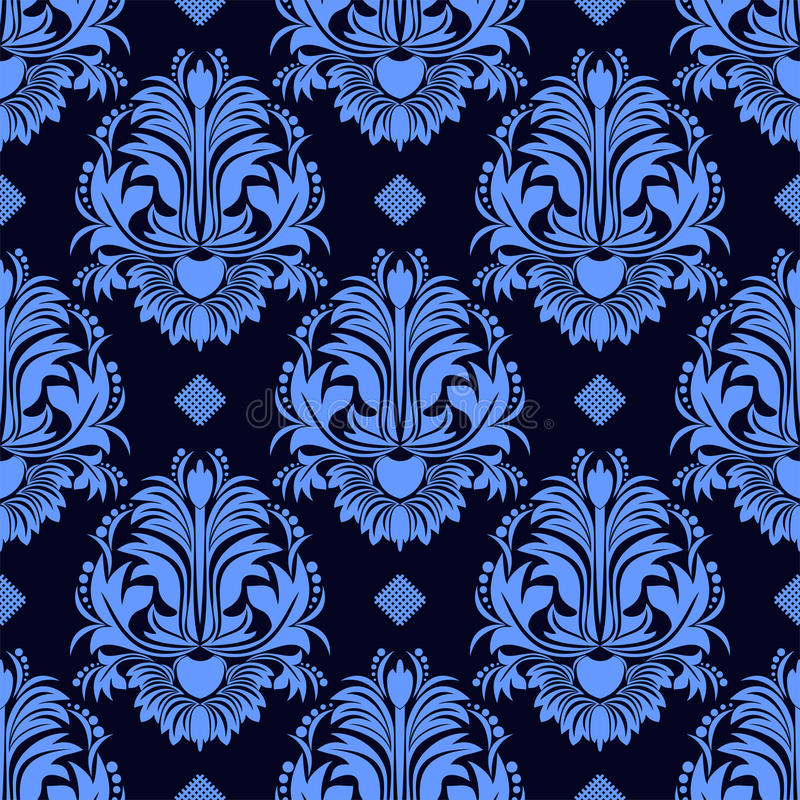 Nahtlose Blumendamast Tapete in den blauen Farben lizenzfreie abbildung