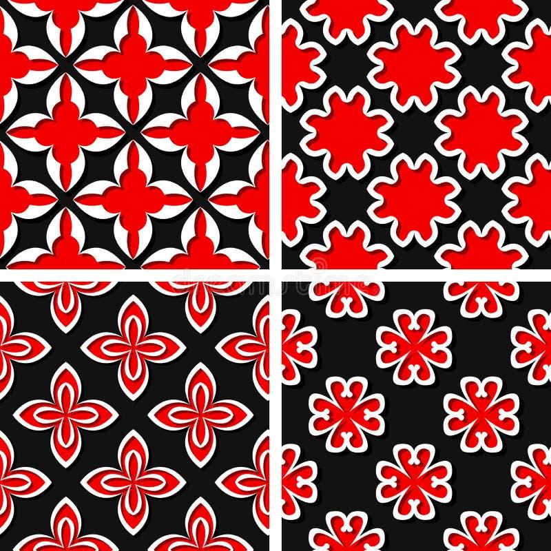 Nahtlose Blumenmuster Satz schwarze Hintergründe 3d mit roten Elementen vektor abbildung