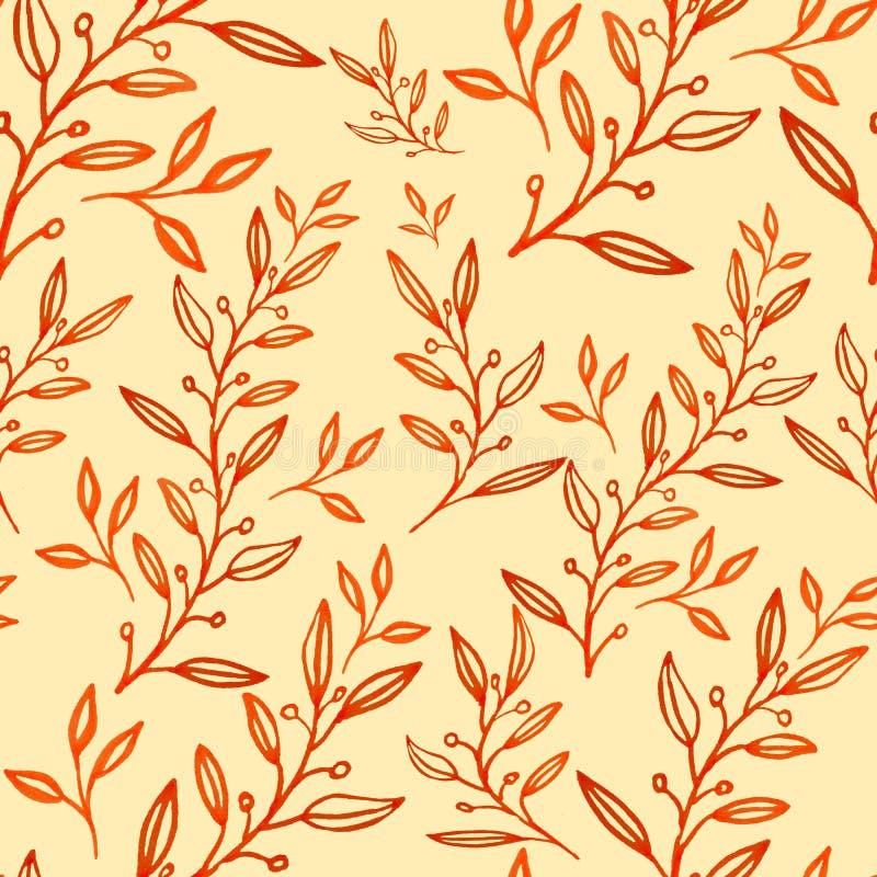 Nahtlose Blumenmusterhandgezogene Blätter lizenzfreie abbildung