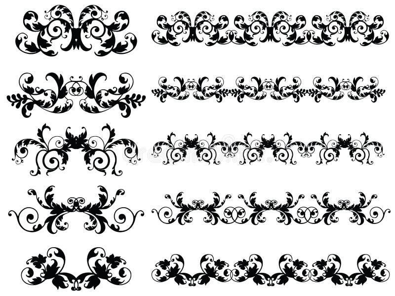 Nahtlose Blumenränder lizenzfreie abbildung