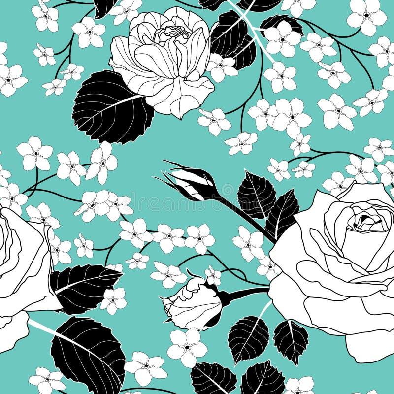 Nahtlose Blumenweinlese weiße Rose Pattern mit reizenden Blumen stockbild