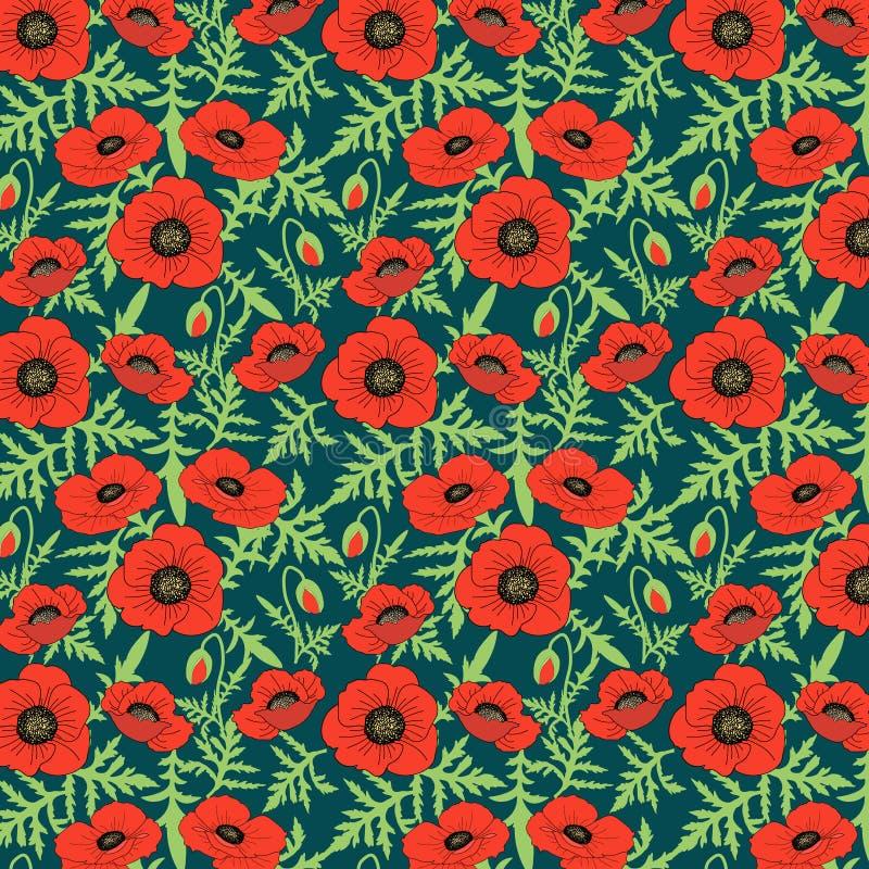Nahtlose botanische blüht gezeichnete realistische Mohnblume des Musters mit Blumenhand grüne Blattknospen, dunklen Hintergrund,  lizenzfreie abbildung
