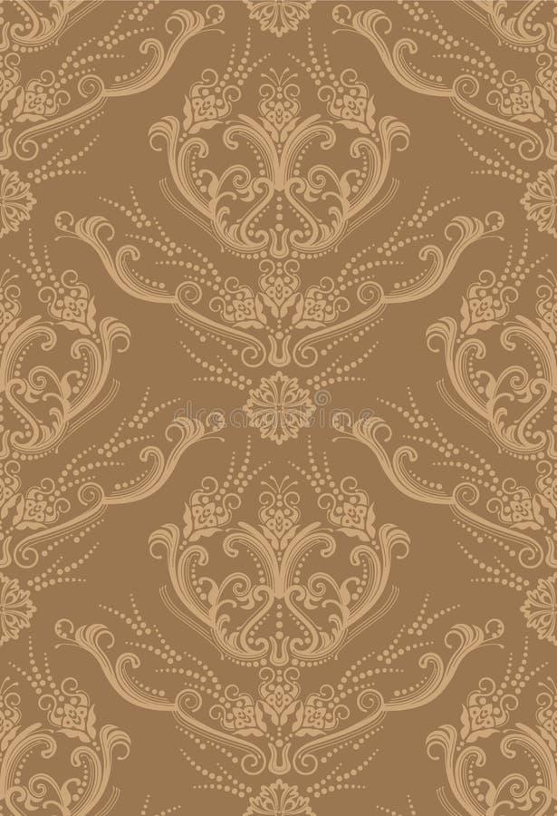 Nahtlose braune Blumentapete lizenzfreie abbildung