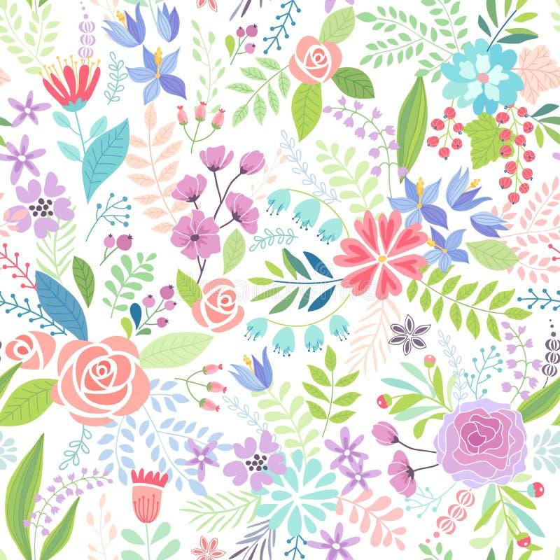 Nahtlose bunte mit Blumenhand gezeichnetes Muster vektor abbildung
